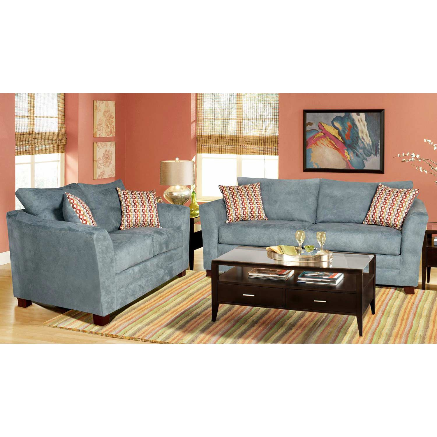 Barbara Flared Arm Loveseat - Montana Lagoon Fabric - CHF-251953-20
