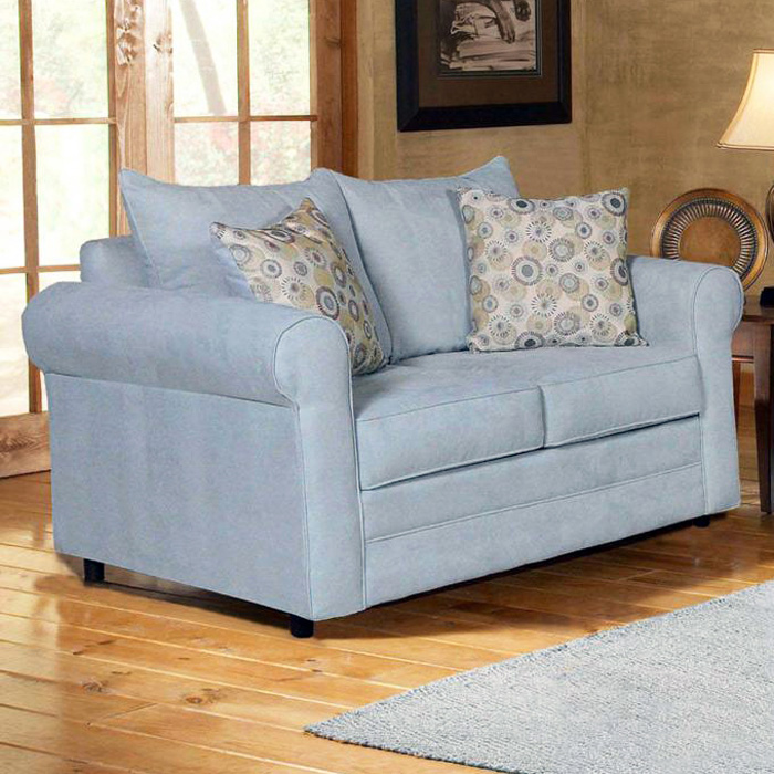 Anita Pillow Back Loveseat - Rolled Arms, Blitz Capri Fabric