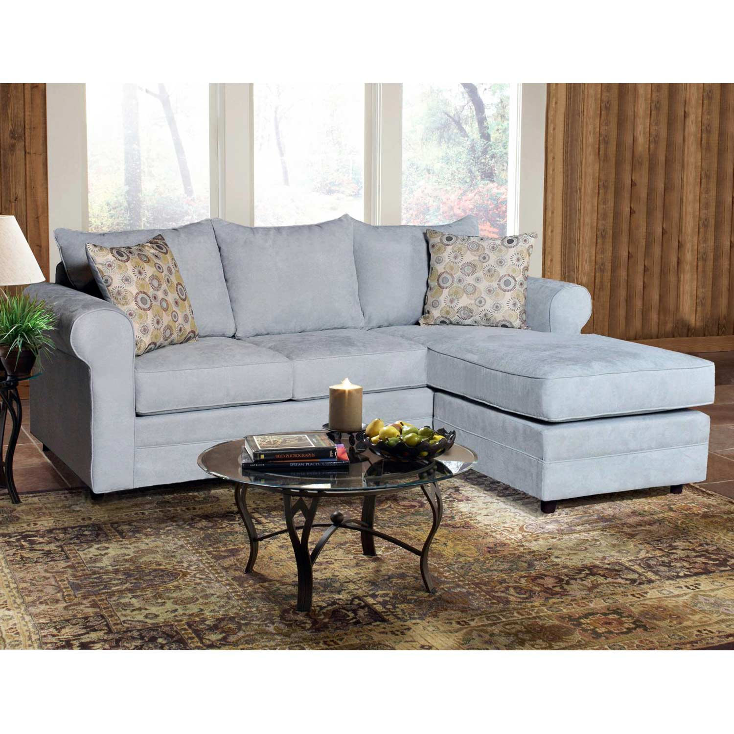 Anita Pillow Back Sofa & Ottoman - Chaise Cushion, Blitz Capri Fabric