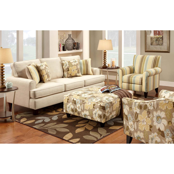 Hudson Fabric Sofa Set with Floral Ottoman