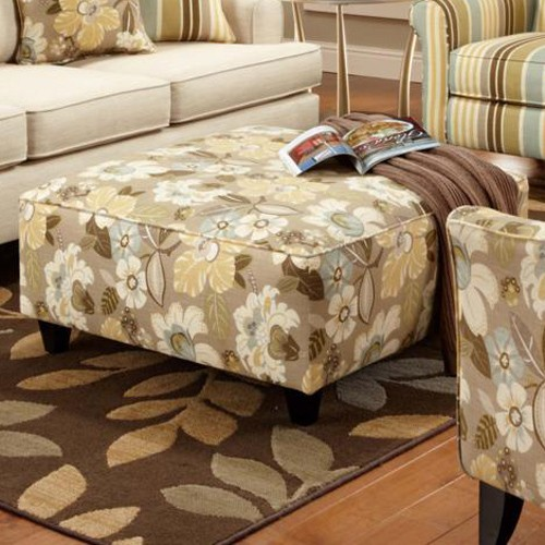 Hudson Floral Fabric Ottoman