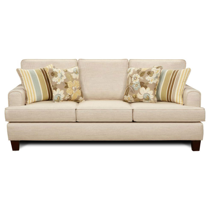 Hudson Contemporary Sofa in Marlboro Ivory Fabric