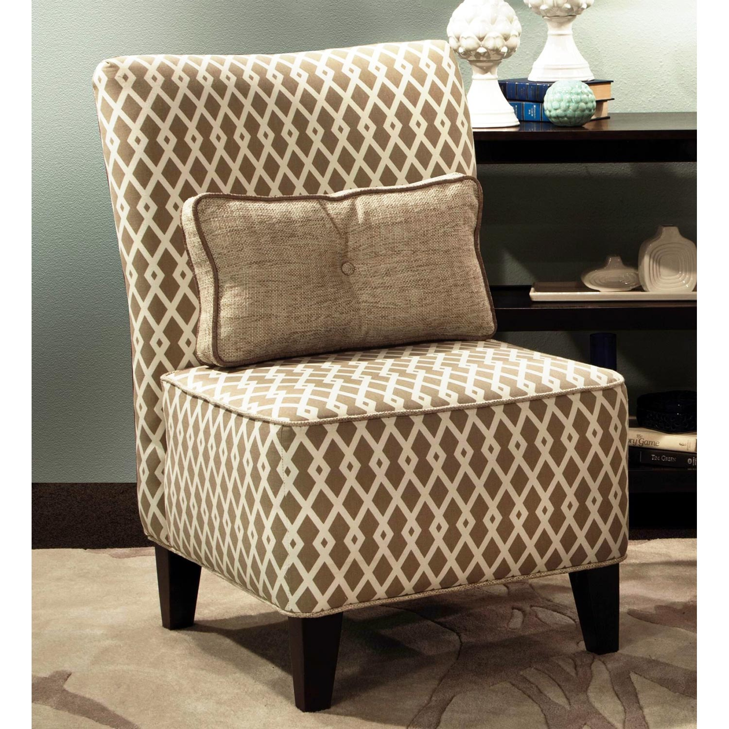 Esse Fabric Armless Accent Chair - Pillow, Graphic Fret Flax - CHF-271982-011