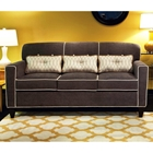 Ally Apartment Size Sofa - Buttons Heavenly Mocha Fabric