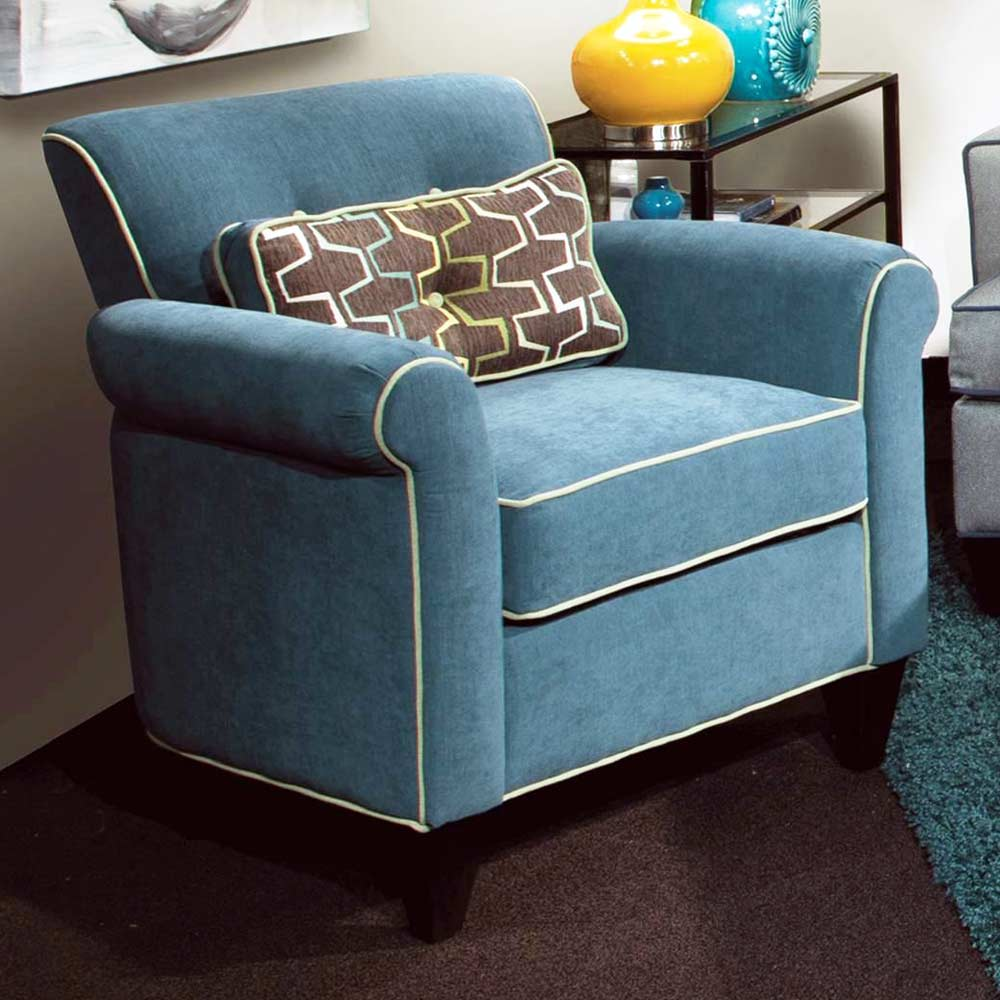 Tiffany Rolled Arm Accent Chair - Jukebox Blueberry Fabric