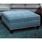 Tiffany Square Storage Ottoman - Jukebox Blueberry Fabric