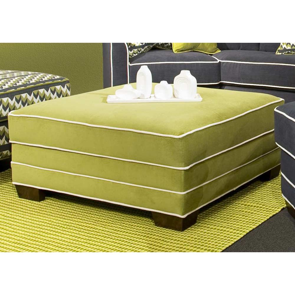 Square Storage Ottoman - Contrasting Welts, Block Feet
