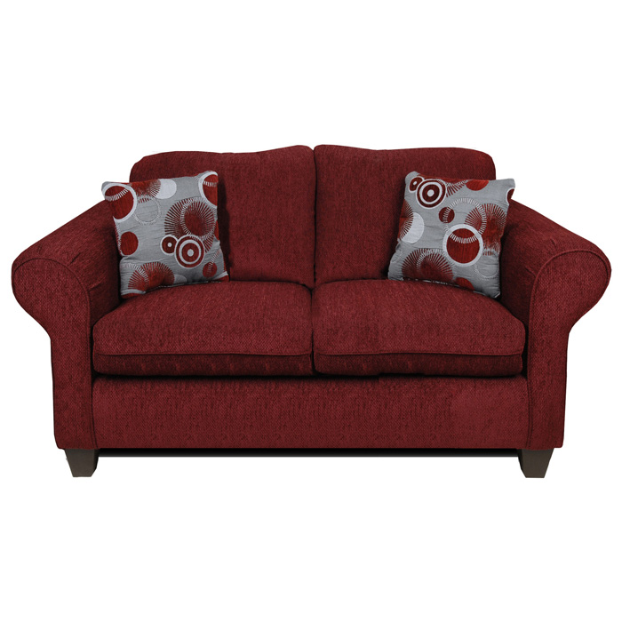 Libby Loveseat - Rolled Arms, Tahoe Burgundy Fabric