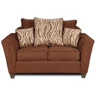 Zoey Flared Arm Fabric Loveseat - Patterned Pillows, Delray Fudge