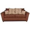 Zoey Flared Arm Fabric Sofa - Patterned Pillows, Delray Fudge