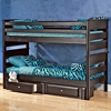 Twin Bunk Bed - Under Bed Storage, Black Cherry