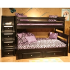 Twin Over Full Storage Bunk Bed - Staircase Drawers, Black Cherry