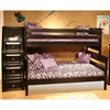 Twin Over Full Bunk Bed - Staircase Drawers, Black Cherry