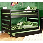 Full Over Full Bunk Bed - Trundle Unit, Black Cherry Finish
