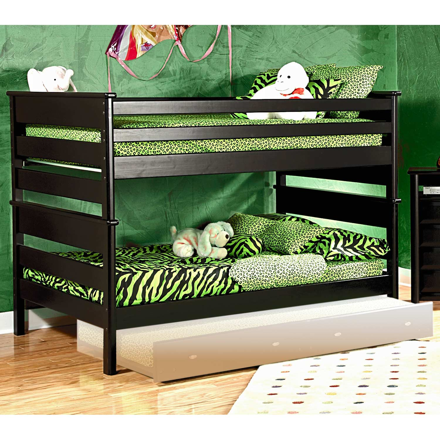 Full Over Full Bunk Bed - Black Cherry Finish