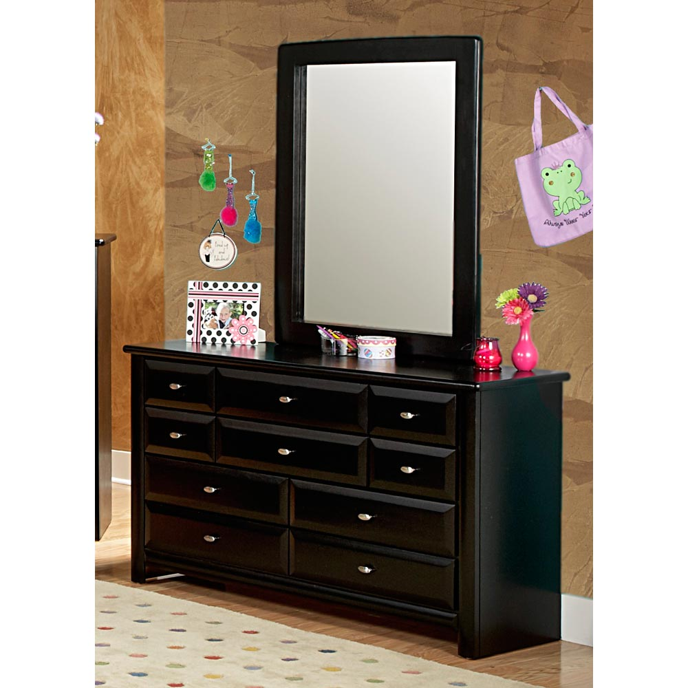 9-Drawer Dresser & Portrait Mirror - Oval Knobs, Black Cherry