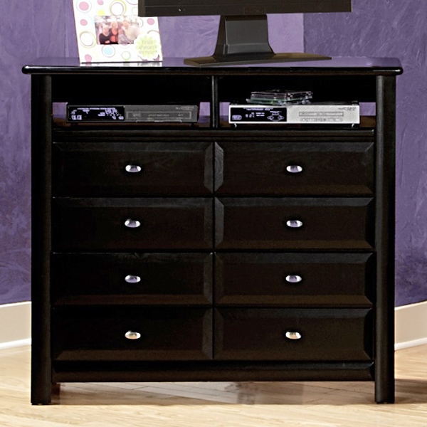 8-Drawer Media Chest - Oval Knobs, Black Cherry Finish - CHF-3534539