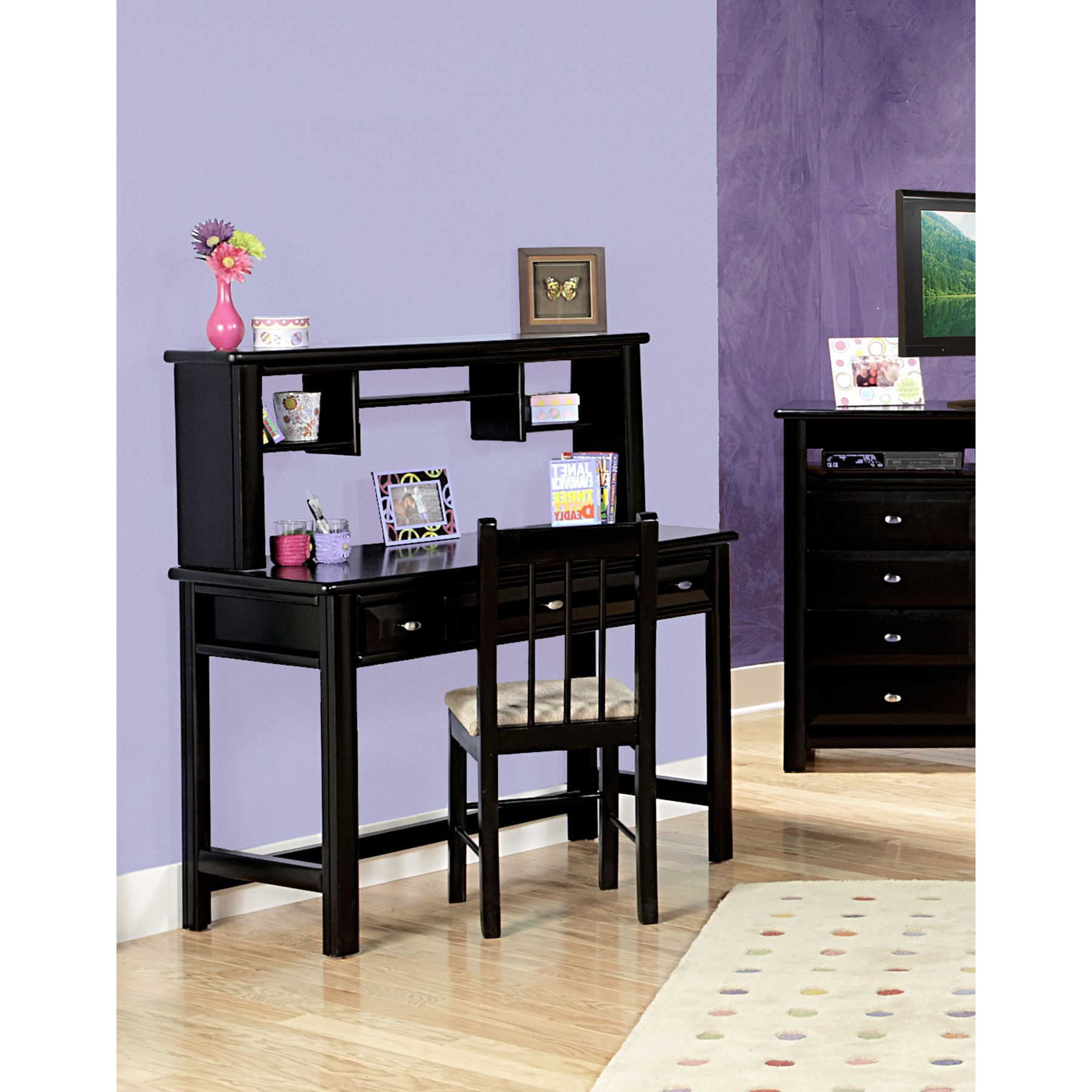3-Drawer Student Desk - Oval Knobs, Black Cherry Finish