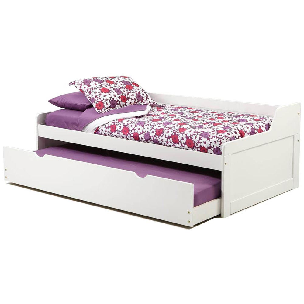 Twin Wooden Bed - Trundle Unit, White Finish