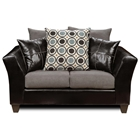 Holly Modern Loveseat - Flared Arms, Wood Feet, Black Base