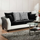 Tau Modern Sofa - Jefferson Black & Avanti White Upholstery
