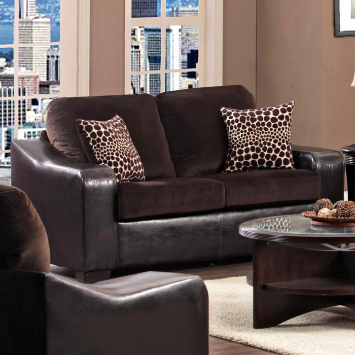 Kappa Upholstered Loveseat - Block Feet, Velvety Fabric Cushions