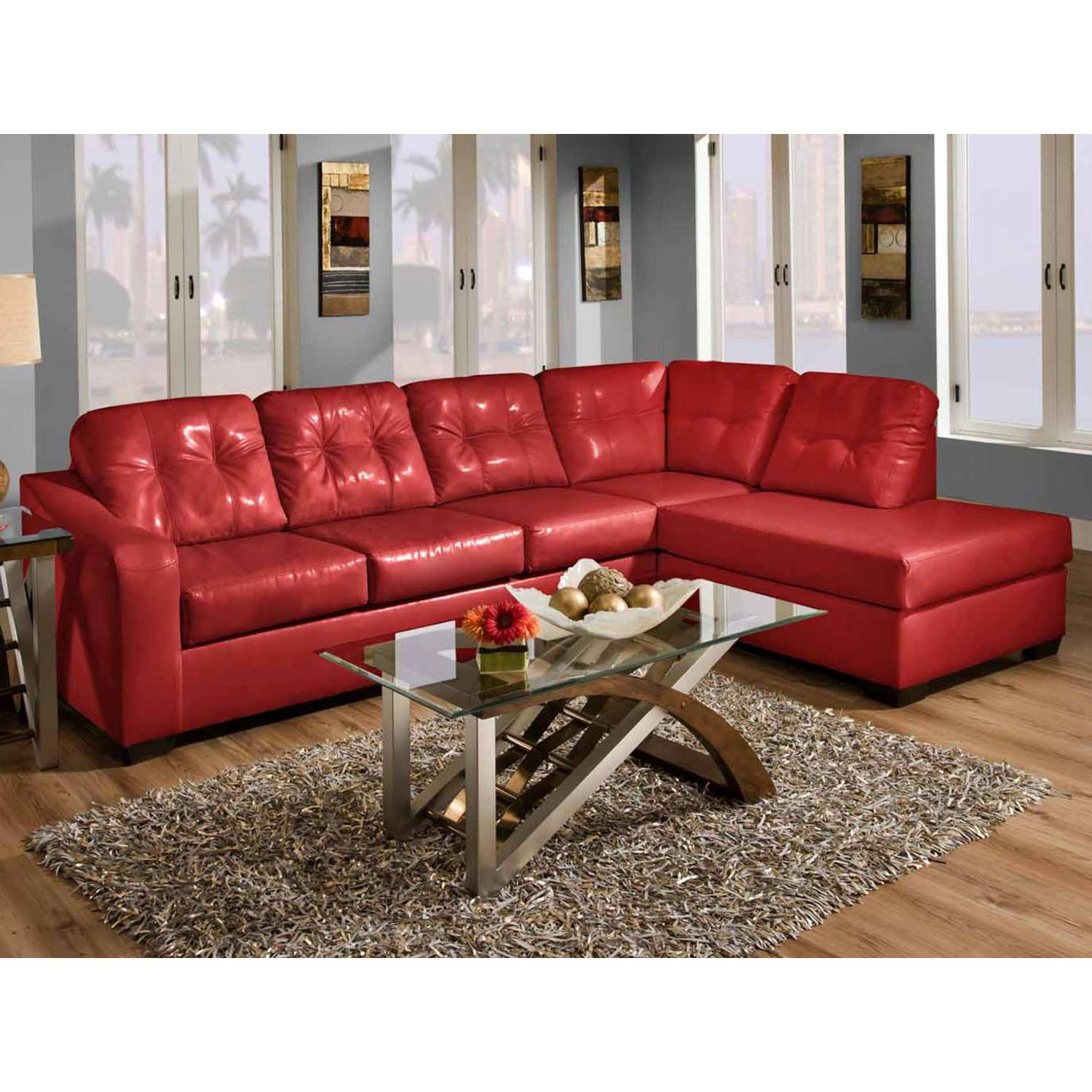 Omicron Chaise Sectional Sofa - Tufting, San Marino Red