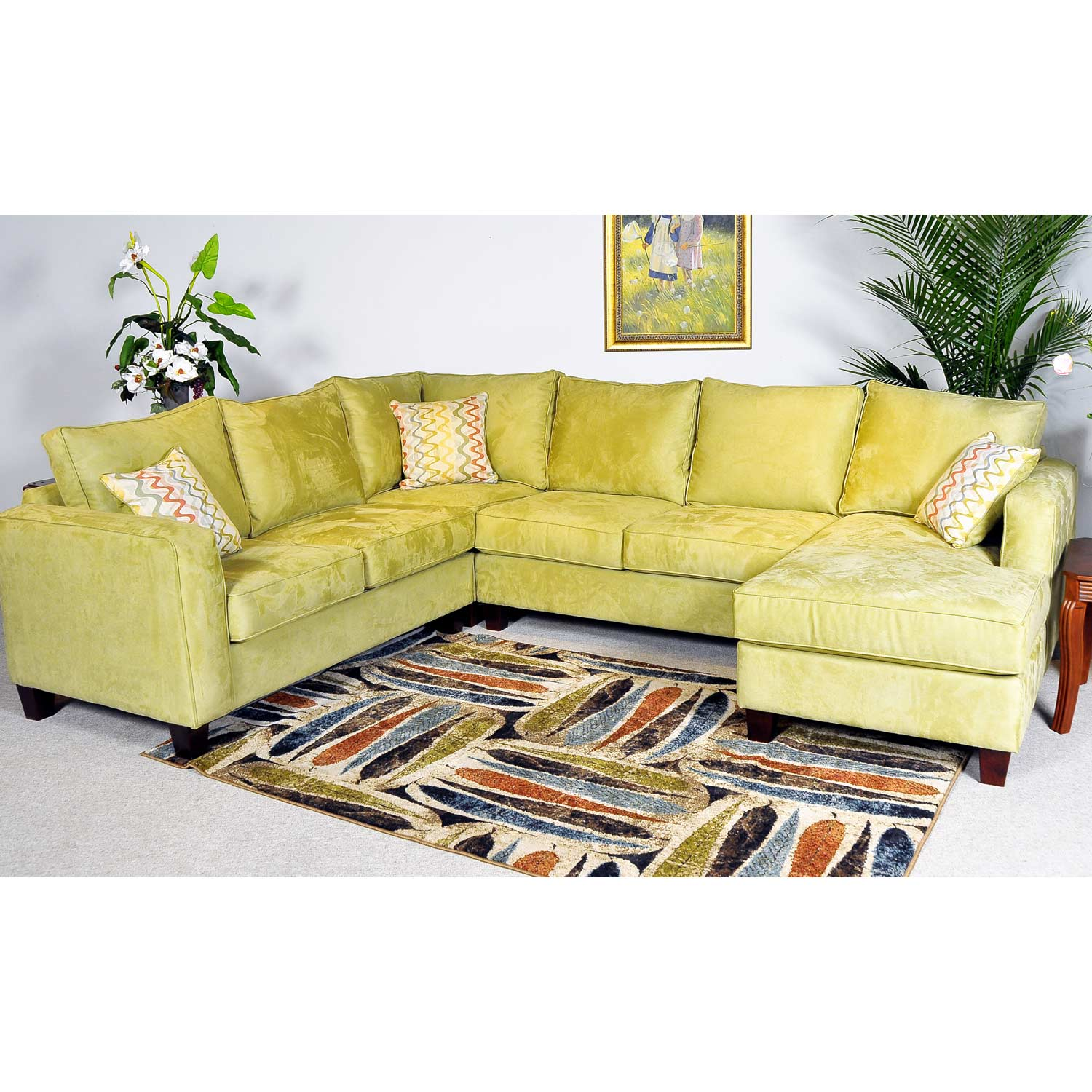 Angie Fabric Sectional Sofa & Chaise - Mission Apple