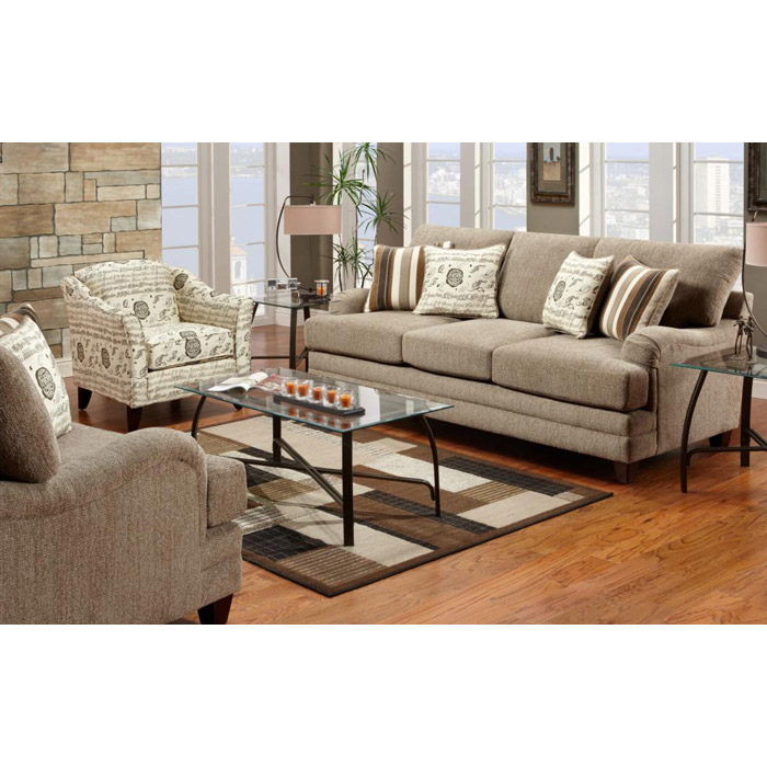 Warren Sofa and Chair Set in Wampum Taupe Fabric