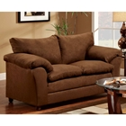 Gail Pillow Top Arm Loveseat - Flat Suede Chocolate