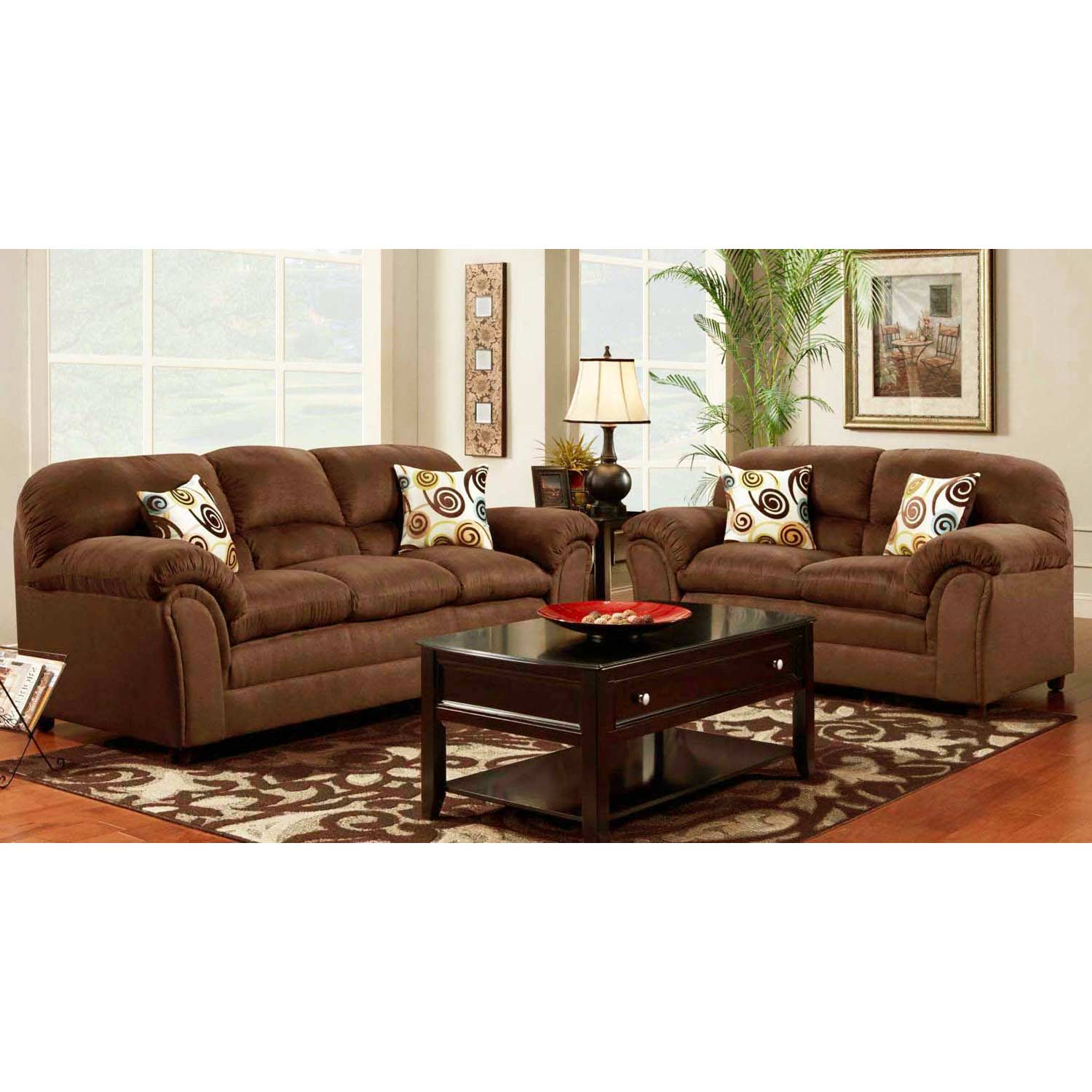 Joyce Padded Fabric Loveseat - Flat Suede Chocolate - CHF-471250-L-FC