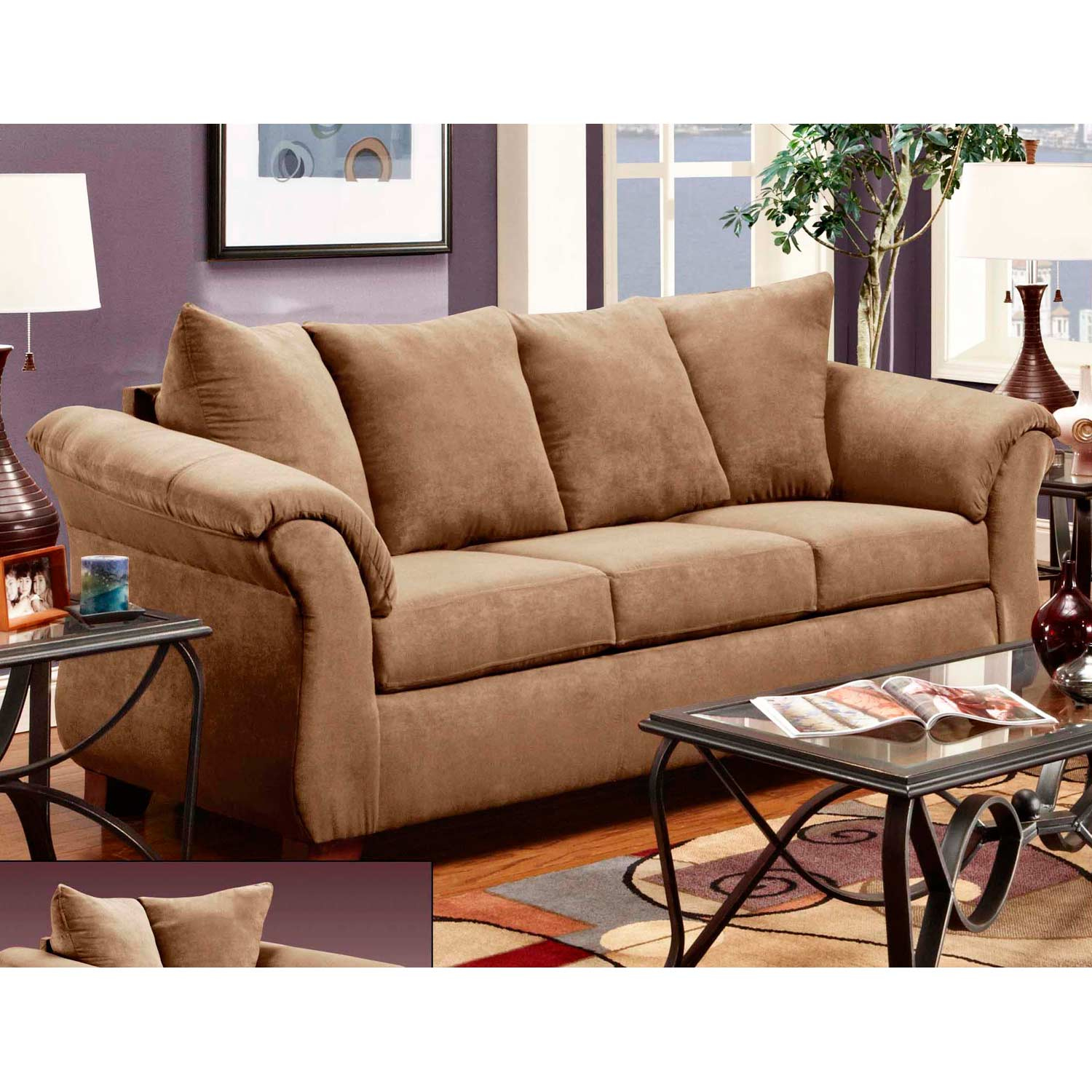 Kiersten Flared Arm Fabric Sofa - Victory Lane Taupe