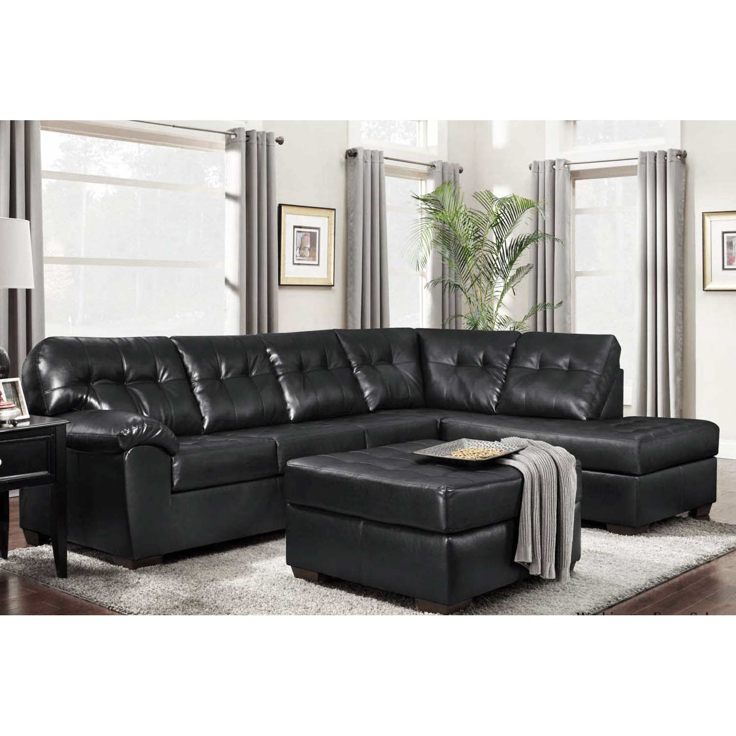 Rachel Tufted Chaise Sectional Sofa - Contempo Black Upholstery