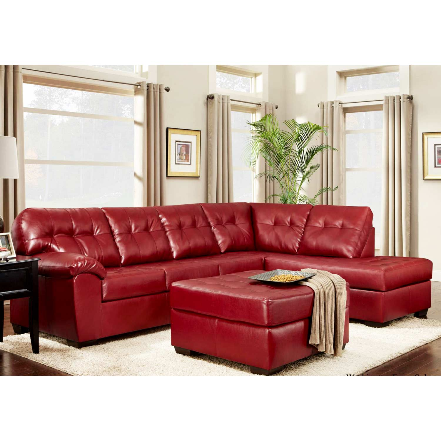 Rachel Tufted Chaise Sectional - Contempo Red Upholstery
