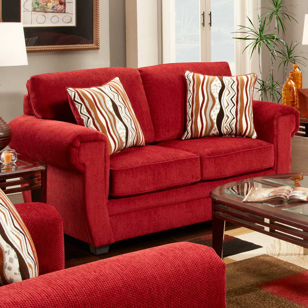 Leslie Pillow Back Fabric Loveseat - Toss Pillows, Samson Red