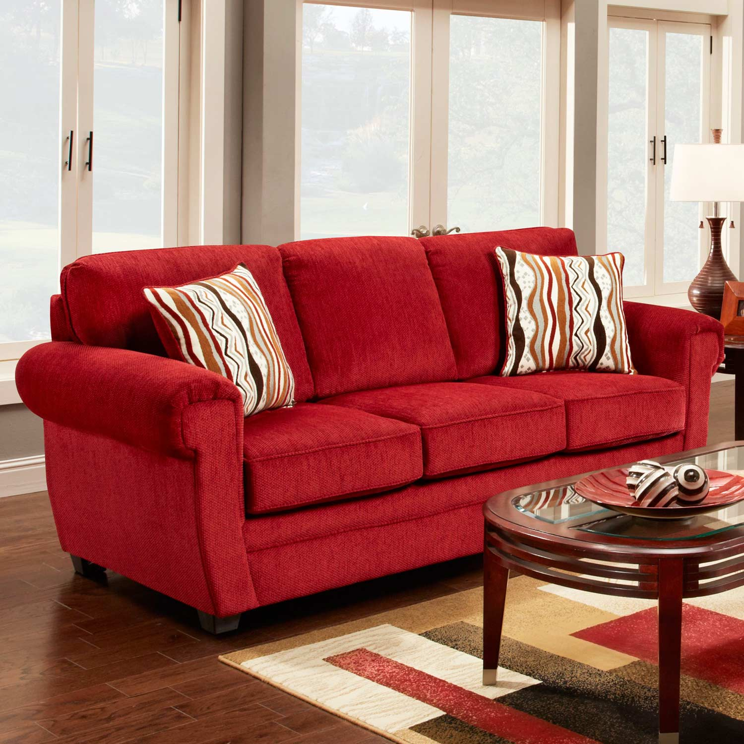 Leslie Pillow Back Fabric Sofa - Toss Pillows, Samson Red