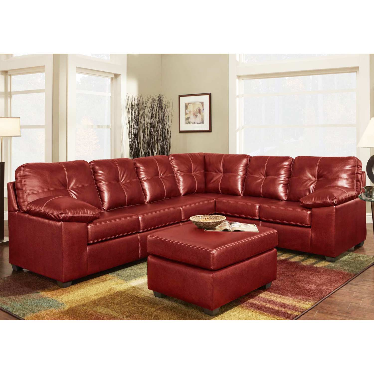 Tamera Leather Sectional Sofa - Contrast Stitching, Ty Red