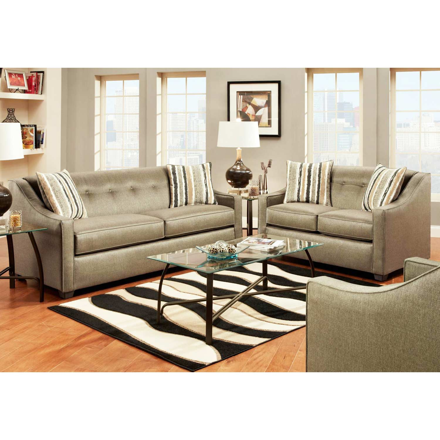 Brittany Sloped Arm Loveseat - Buttons, Stoked Pewter Fabric - CHF-475440-L-SP