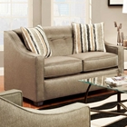 Brittany Sloped Arm Loveseat - Buttons, Stoked Pewter Fabric