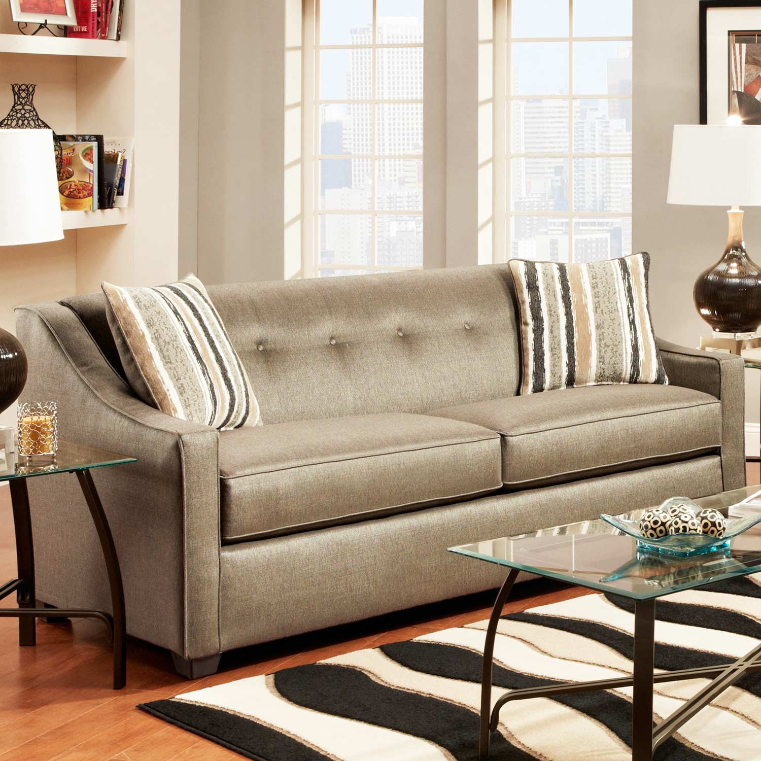 Brittany Sloped Arm Sofa - Buttons, Stoked Pewter Fabric