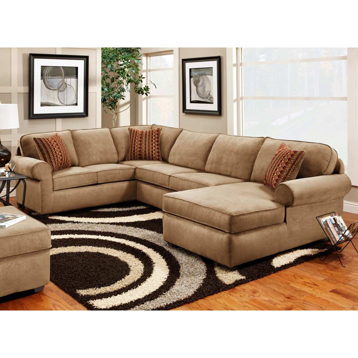 Vera 3-Piece Chaise Sectional - Victory Lane Taupe Fabric