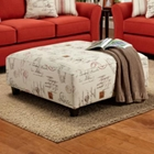 Gloucester Ottoman in Postale Ruby Print Fabric