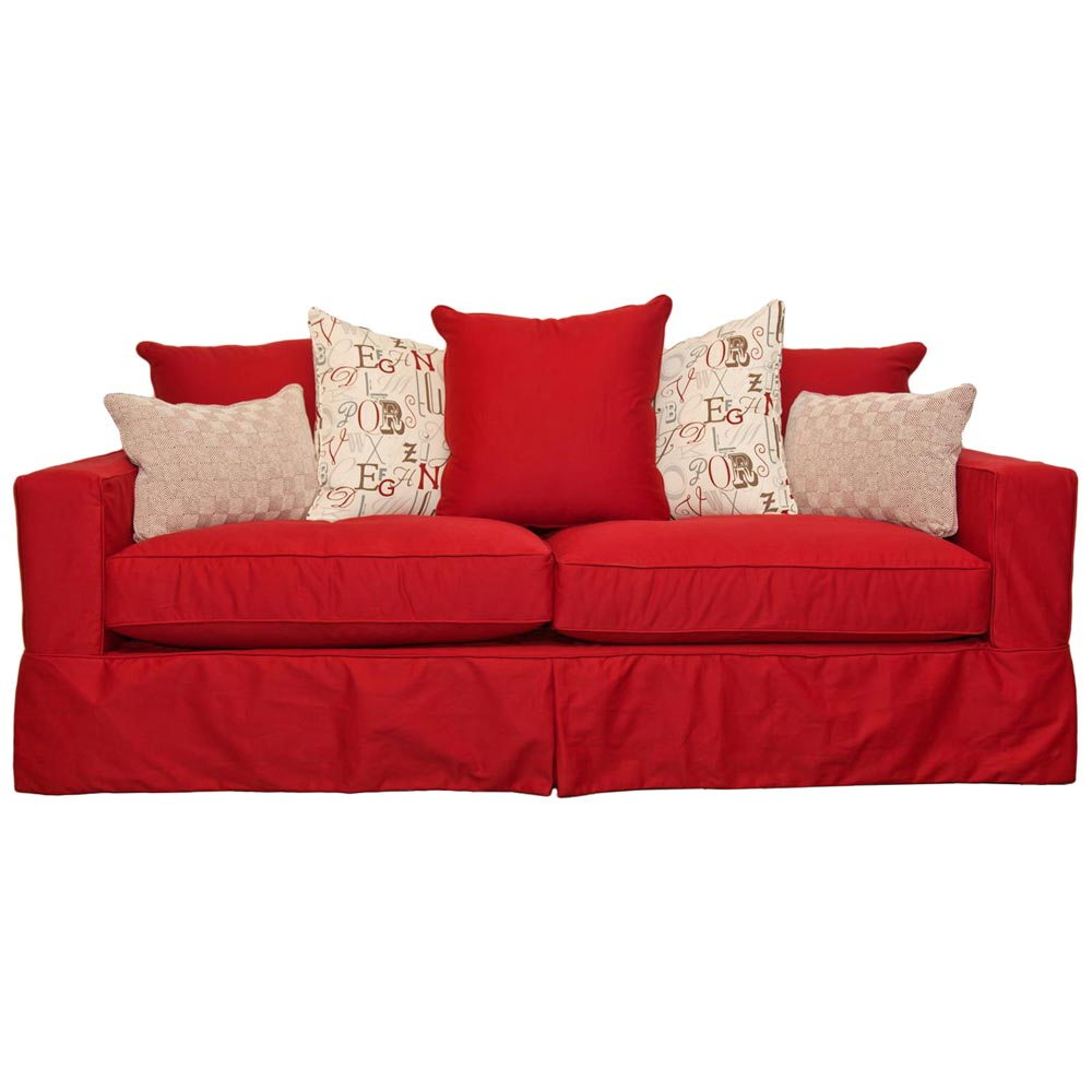 Regina Slipcover Track Arm Sofa - Ranger Twill Flame Fabric