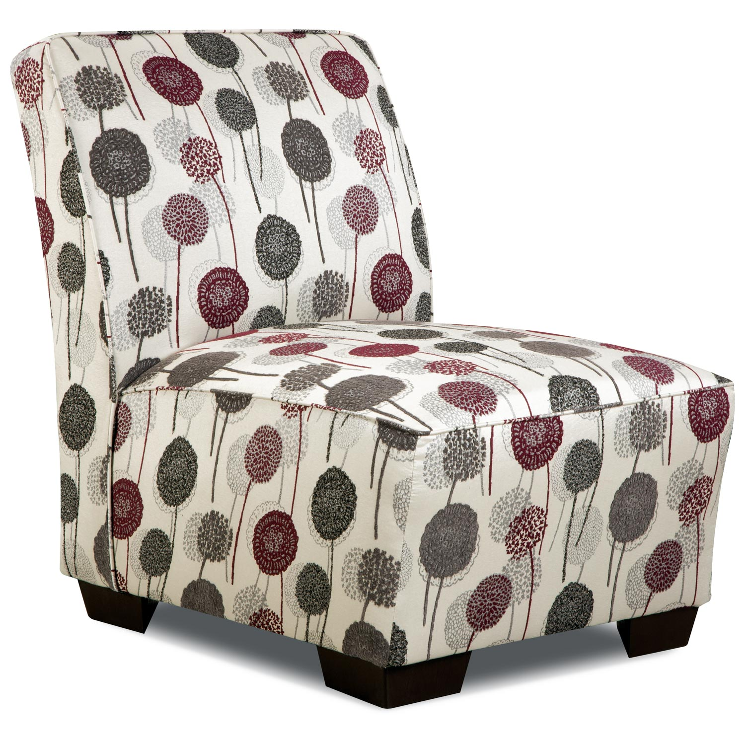 Dandelion Patterned Armless Chair - Wildrose Raspberry Fabric