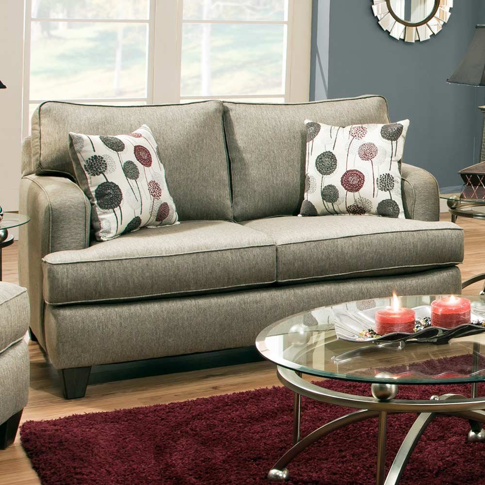 Dandelion Modern Loveseat - Luminous Pewter Fabric