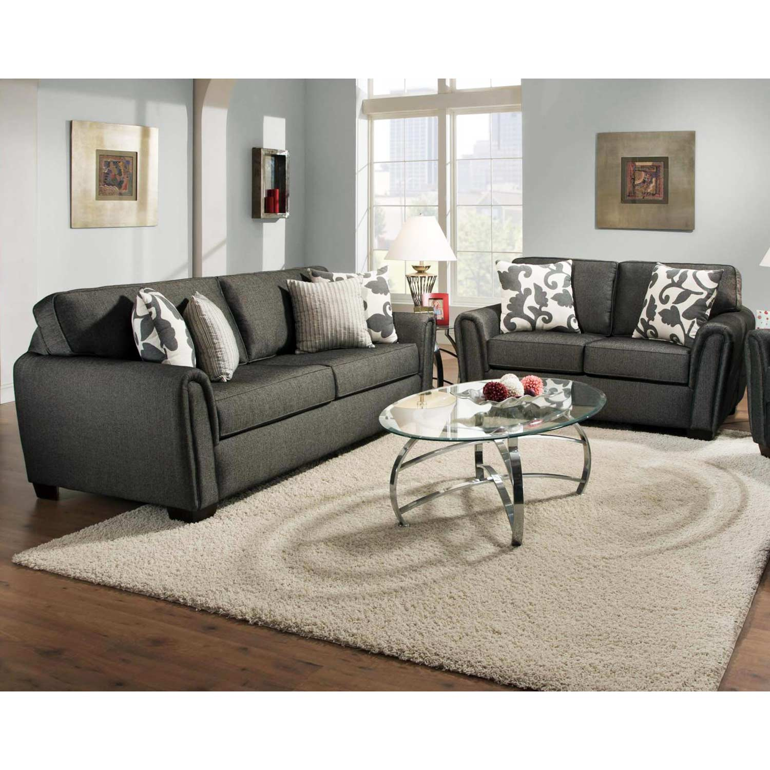 Veronica Modern Loveseat - Block Feet, Talbot Onyx Fabric - CHF-527302