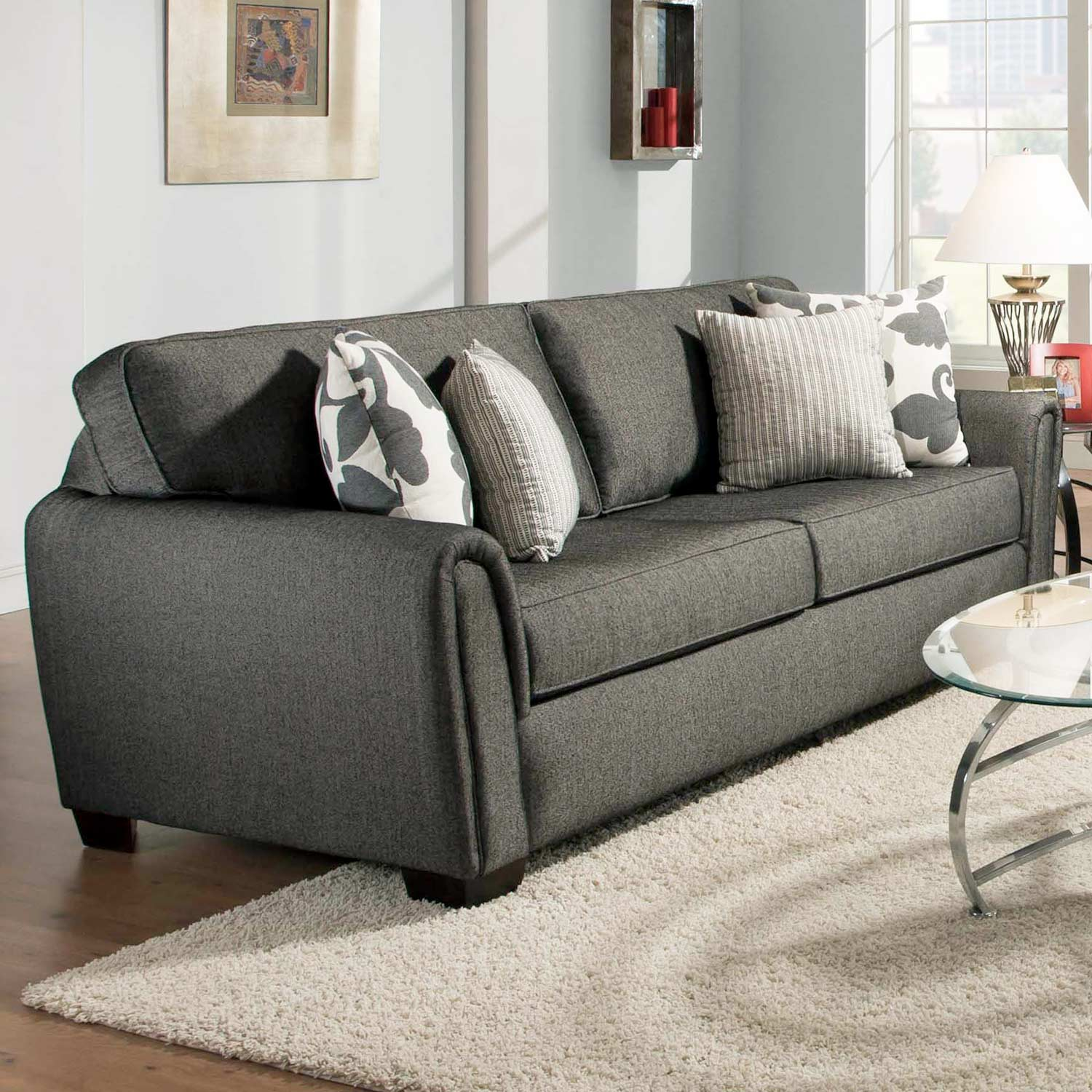 Veronica Modern Sofa - Block Feet, Talbot Onyx Fabric - CHF-527303