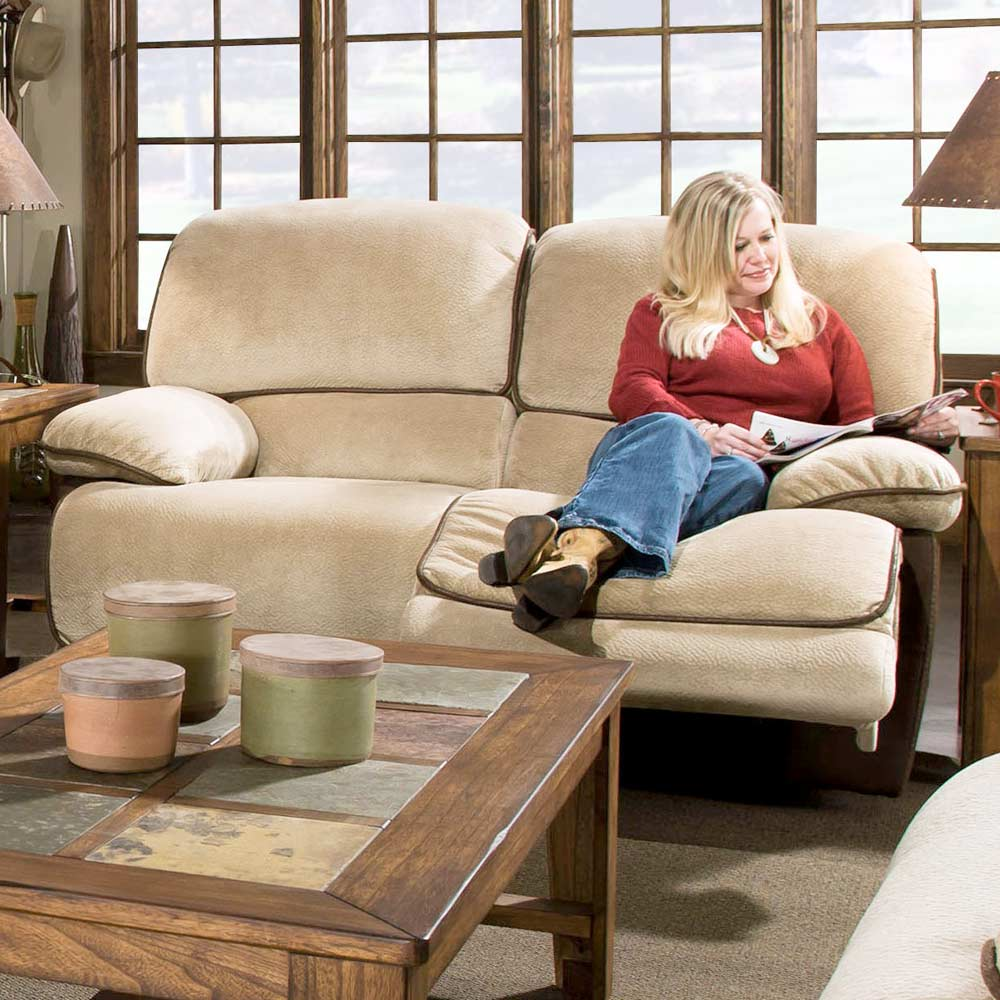 Dogwood Two-Toned Reclining Loveseat - Contrasting Welts - CHF-52780-20