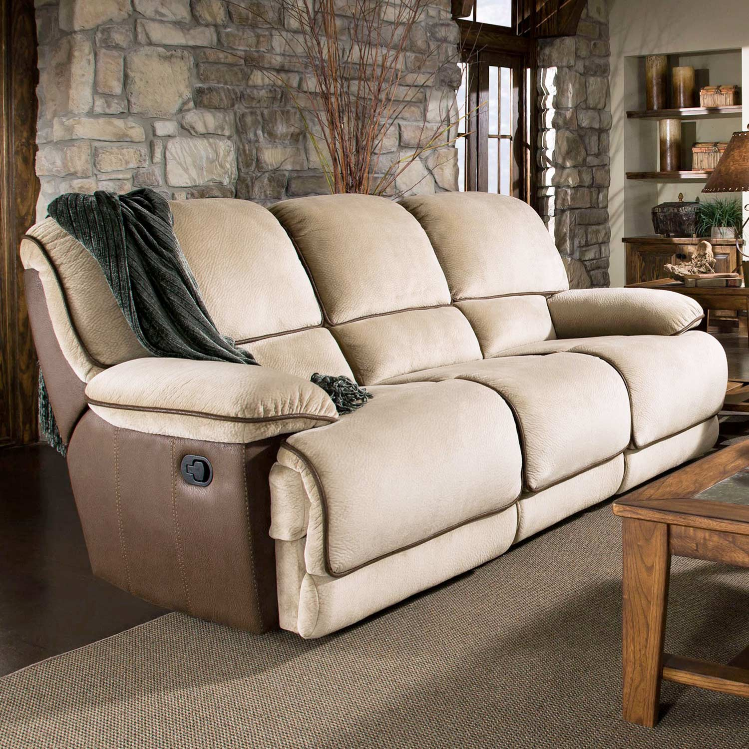 Dogwood Two-Toned Reclining Sofa - Contrasting Welts