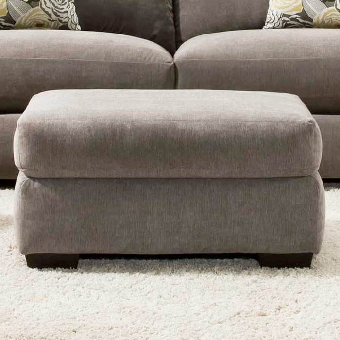 Pansy Upholstered Ottoman - Heather Seal Fabric